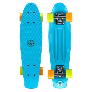Nijdam Nijdam 22.5'' Flipgrip Retro Skateboard Blauw/Geel/Oranje