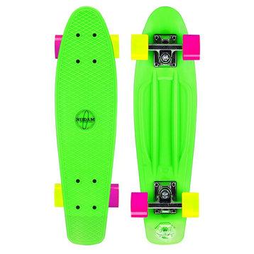 Nijdam Nijdam 22.5'' Flipgrip Retro Skateboard Groen/Fuchsia/Geel