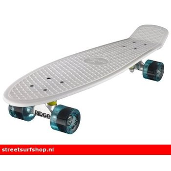 "Ridge Ridge Retro board 27"" White deck with clear blue wheels"