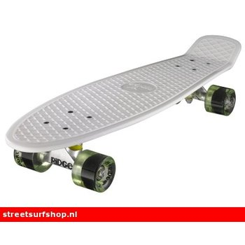 "Ridge Ridge Retro board 27"" White deck with clear green wheels"