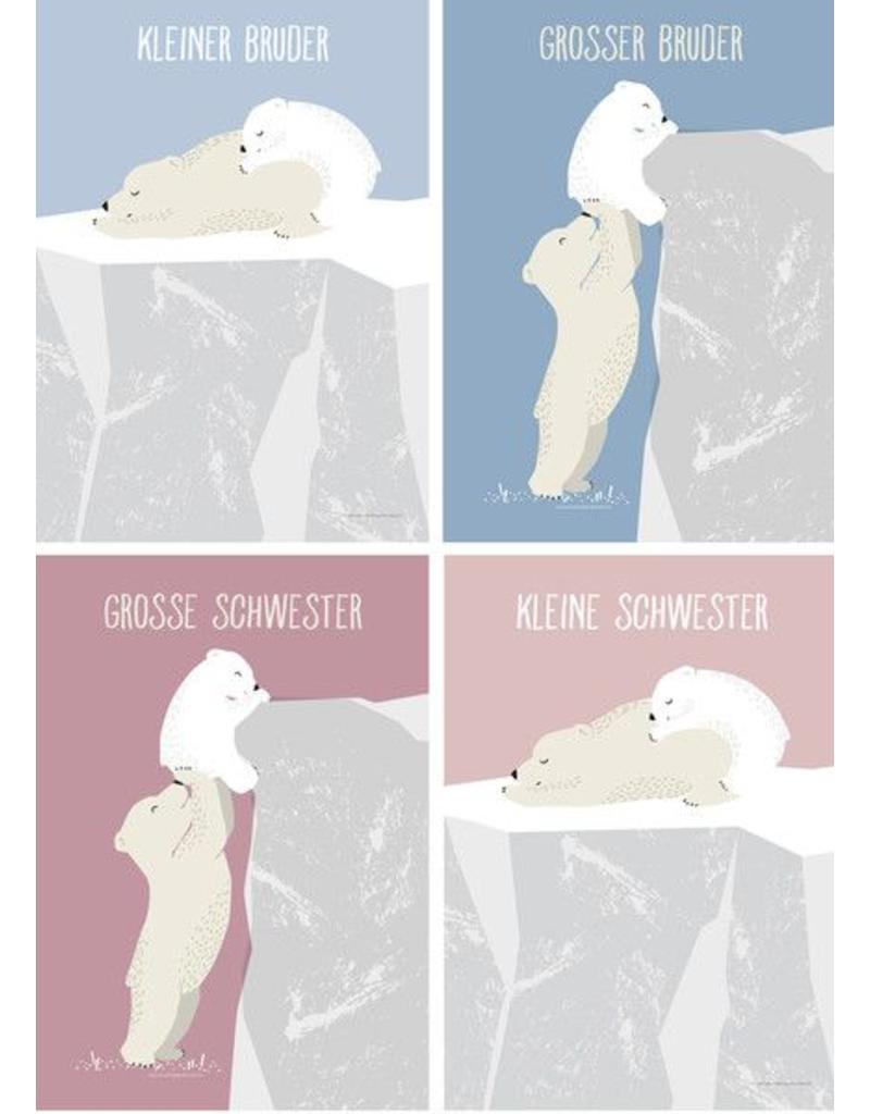 Vierundfünfzig Illustration Poster Geschwister