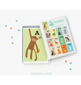 Vierundfünfzig Illustration ABC Kartenset
