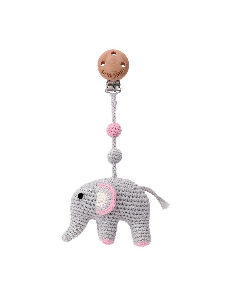 Sindibaba Kinderwagenclip Elefant rosa