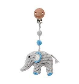 Sindibaba Kinderwagenclip Elefant blau