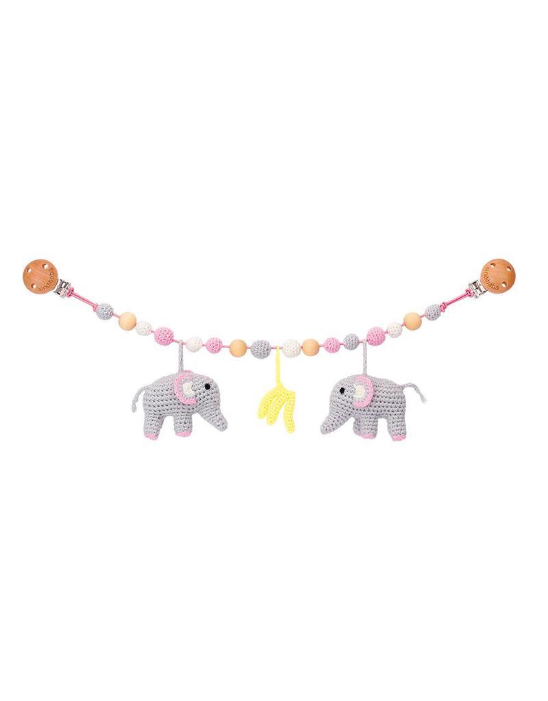 Sindibaba Kinderwagenkette Elefant rosa