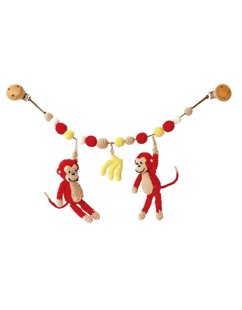 Sindibaba Kinderwagenkette Affen rot