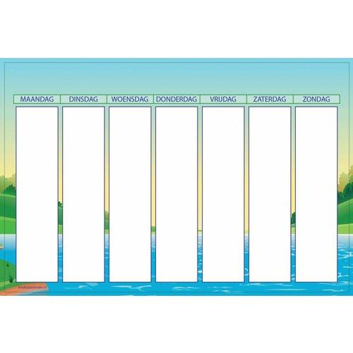 Kinderplanborden Planbord Meer  - gelakt stalen weekplanbord