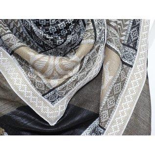 Sjaal beige met zand band