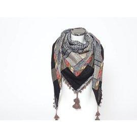 Sjaal Taupe met indiaanband