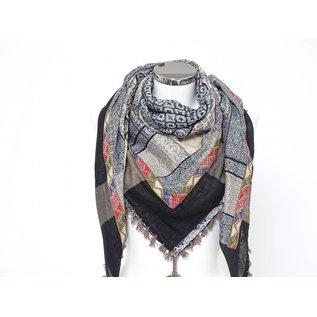 Sjaal Taupe met gekleurd indiaanband