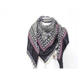 Sjaal zwart/wit met bordeaux band