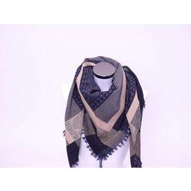 Sjaal zwart Ecru met band