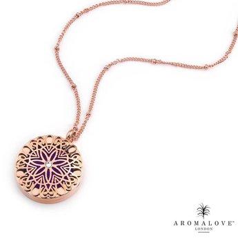 AromaLove Flowerburst aromadiffuser locket necklace 25mm diameter (rose gold)