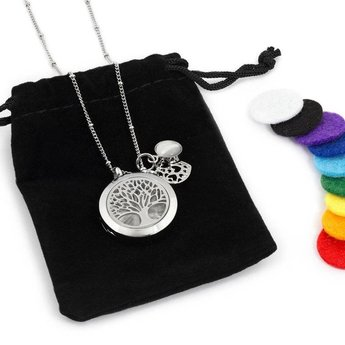 AromaLove Tree of Life aromadiffuser necklace (silver) with reusable pads