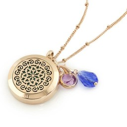 AromaLove Moroccan design aromadiffuser locket necklace (rose gold)