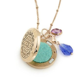 AromaLove Moroccan design aromadiffuser locket necklace with charms rose gold 25 mm.