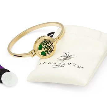 AromaLove Levensboom aromadiffuser armband (goud) met herbruikbare pads