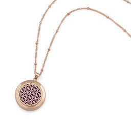 AromaLove Flower of Life aroma diffuser necklace rose gold
