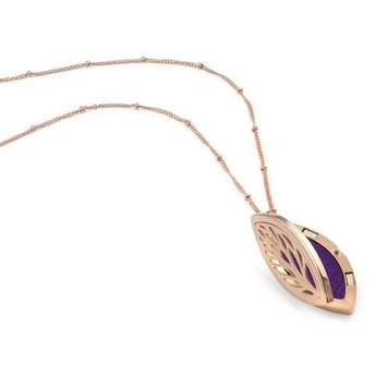AromaLove Leaf shaped aroma necklace Rose gold
