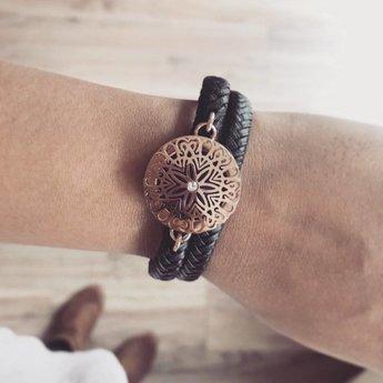 AromaLove Leren Flowerburst diffuser armband