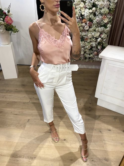 Silky Lace Top Blush