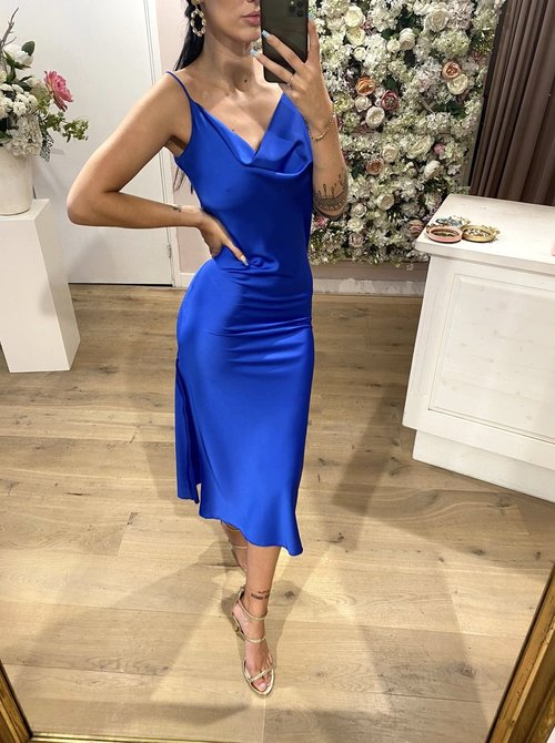 Satin dress cobalt