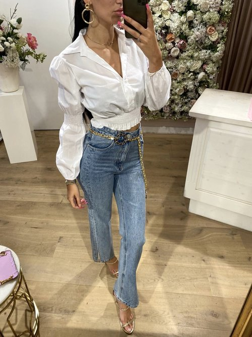 Ruched Blouse White