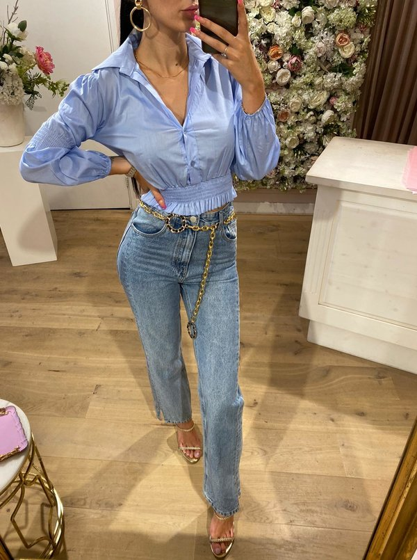 Ruched Blouse Blue