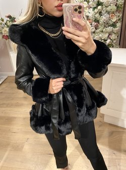 Trendy Fur Coat Black
