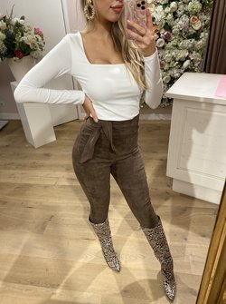 Suede Taupe Pants