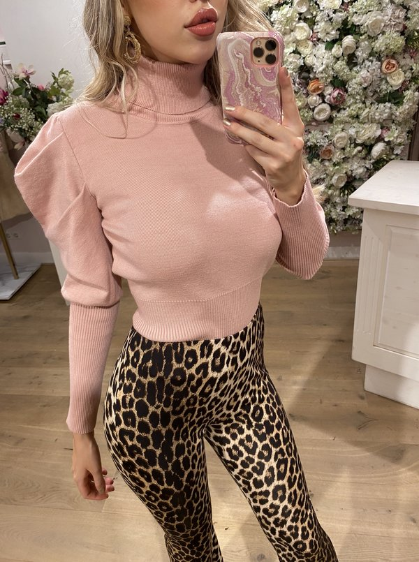 Col Puff Sleeve Pink