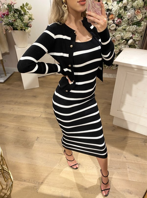 Striped Comfy Set Black