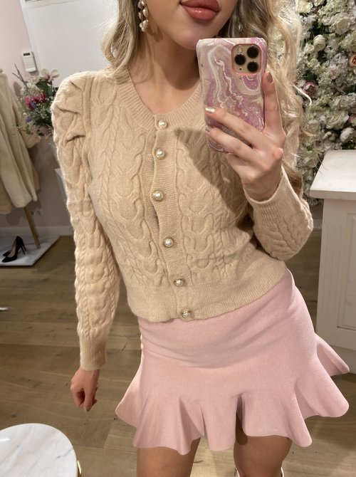Knitted Pearl Vest Sand