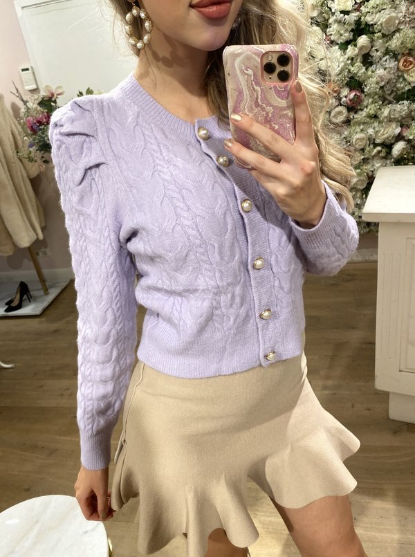Knitted Pearl Vest Lila