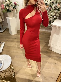 Cut Out Dress Red