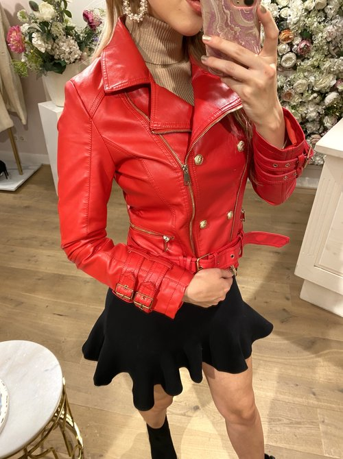 Gold button jacket red