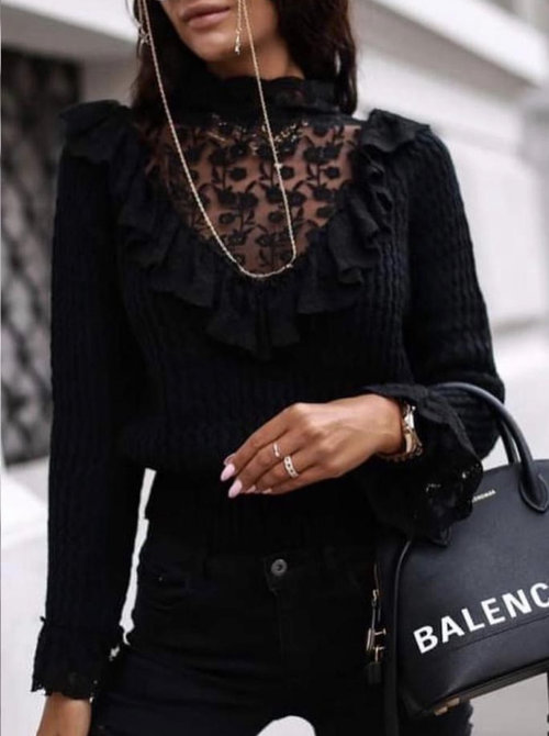 Sweater black lace