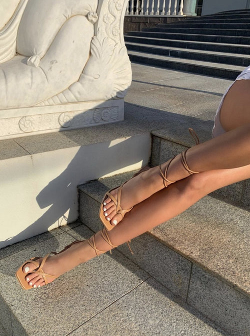 Strappy Square Heels Nude