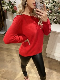 Shiny Details Sweater Red
