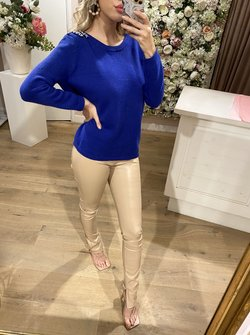Shiny Details Sweater Cobalt