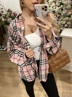 Checkered  blouse pink