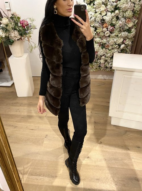 Faux Fur Gilet brown/green