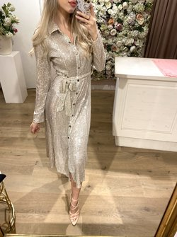Blouse Dress Glitter Silver