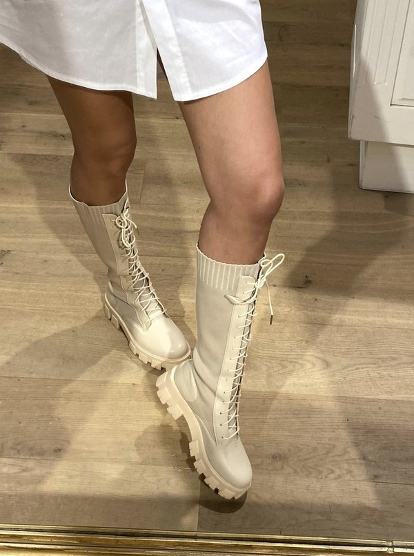 Beige lace up boots