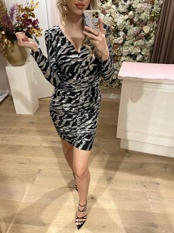 Silver zebra sequin printed dress