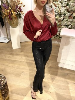 Wine Red satin body blouse