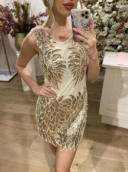 Feather Dress Gold