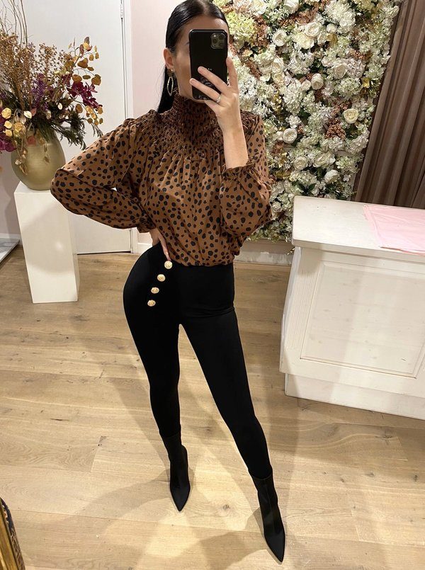 Feline Dotted Blouse Brown
