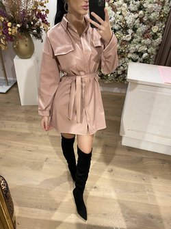 Giannia Leather Dress Pink