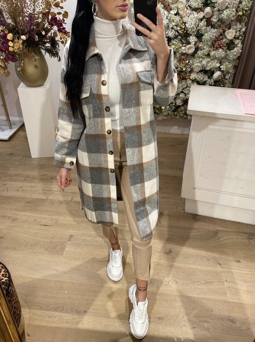 Flannel Blouse Long Grey